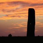 North Ronaldsay Standing Stone at sunset. Photograph © Marion Muir