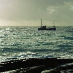 North Ronaldsay fishing boat off shore. Photograph © Selena Arte