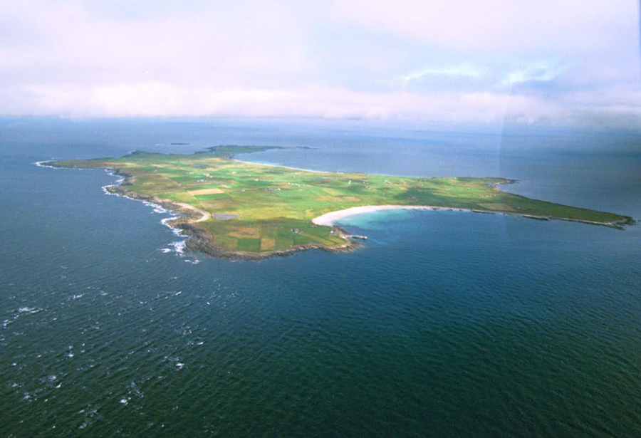 North Ronaldsay from the air. Photograph © Kevin Woodbridge